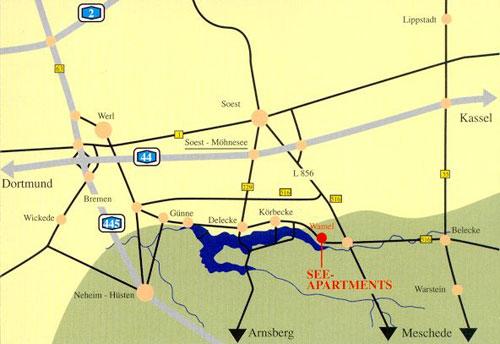 Wegbeschreibung PKW Strassenkarte Busfahrplan Touristikinfo Möhnesee Wamel Routenplaner